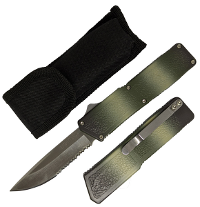 Out-the-Front Automatic Knife Lightning OTF Serrated Silver 3.25