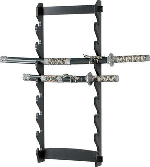 8-Tier Black Wood Sword Wall Hanging Display