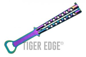 Harmless Rainbow Stainless Steel Practice Butterfly Knife Bottle Opener