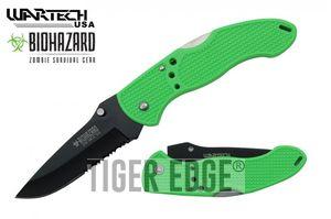 Folding Pocket Knife | Wartech Green Black Serrated Blade Low-Cost Utility EDC