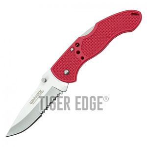 Folding Pocket Knife | Wartech Red Silver Serrated Blade Low-Cost Utility EDC