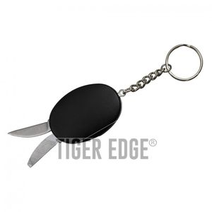 Mini Keychain Multi-Tool Knife Blade, File, Bottle Opener - Black
