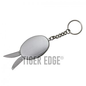 Mini Keychain Multi-Tool Knife Blade, File, Bottle Opener - Silver