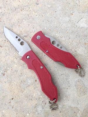 Folding Pocket Knife | Mini Red Silver Serrated Blade Keychain Key Ring Edc 2