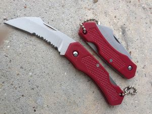Folding Pocket Knife | Mini Red Silver Serrated Curved Blade Keychain Edc 5