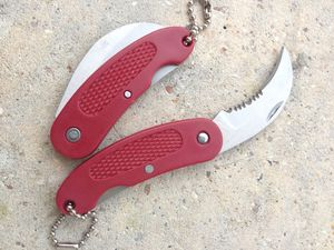 Folding Pocket Knife | Mini Red Silver Serrated Curved Blade Keychain Edc 6