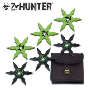 Six (6) Piece Z-Hunter Zombie Throwing Star Set 6 Point Shape Dead Walking