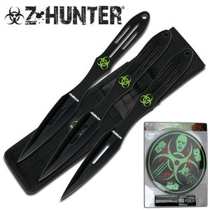 Z-Hunter Zombie 3-Pc. Black Throwing Knife Set With Biohazard Target Board