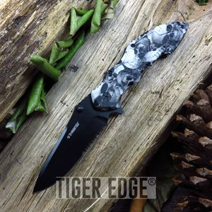 Z-Hunter Gray Skull Black Serrated Tactical Spring Assisted Folding Knife