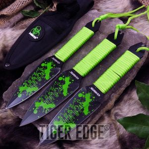 Z-Hunter Zombie Piercer Green 3-Piece Kunai Throwing Knife Set w/ Sheath