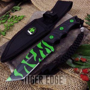 Z-Hunter Black & Green Zombie Tanto Fixed-Blade Full Tang Knife W/ Sheath