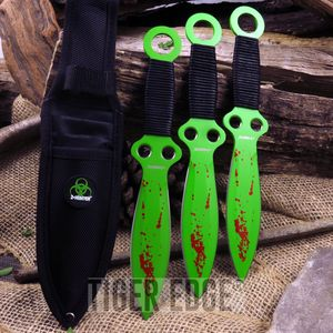 Z-Hunter Zombie Green Throwing Knife Set of 3 Throwers Three Throwers
