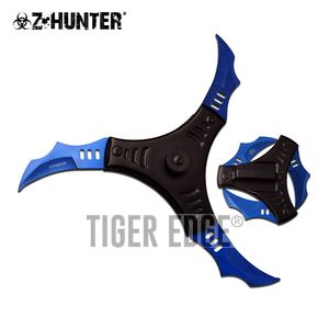 Spring-Assisted Folding Knife   Z-Hunter 3-Blade Blue Black Shuriken Ninja Star