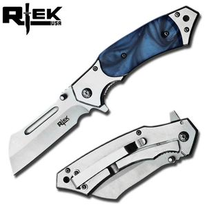 Spring-Assist Folding Knife | Blue Pearl Handle Silver Sheepsfoot Blade EDC